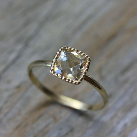 Size 5 3/4 Ready To Ship, 14k Yellow Gold and Orthoclase Ring, Made to Order Solitaire ring, Vintage Inspired Right Hand RIng. $488.00, via Etsy.