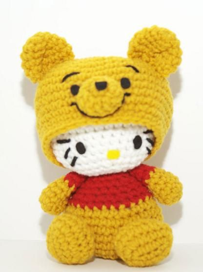 I'm not a fan of Hello Kitty, but I do love Pooh! Hello Kitty Winnie the Pooh Crocheted