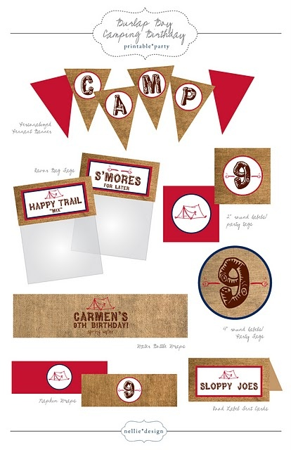 party printables, labels, invitation, banner