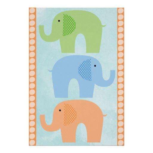 Elephants Baby Boy or Girl  Nursery Poster #nursery #babies #elephants