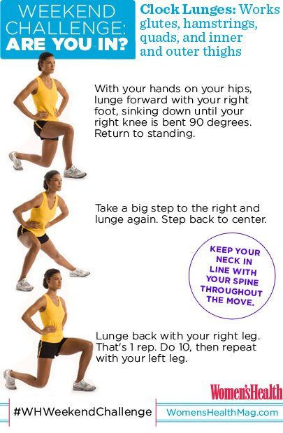 #WHWeekendChallenge Clock lunges! Based on plyometrics, this exercise burns calories and builds lean muscle fast. Complete as many reps as you can (with proper form) in two minutes. So...are you in??