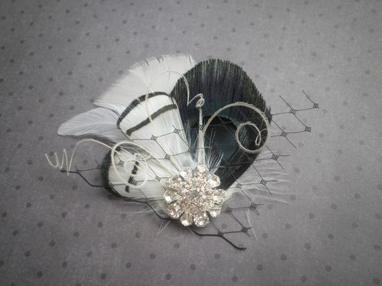 Black and White Feather Hair Facinator, Etsy