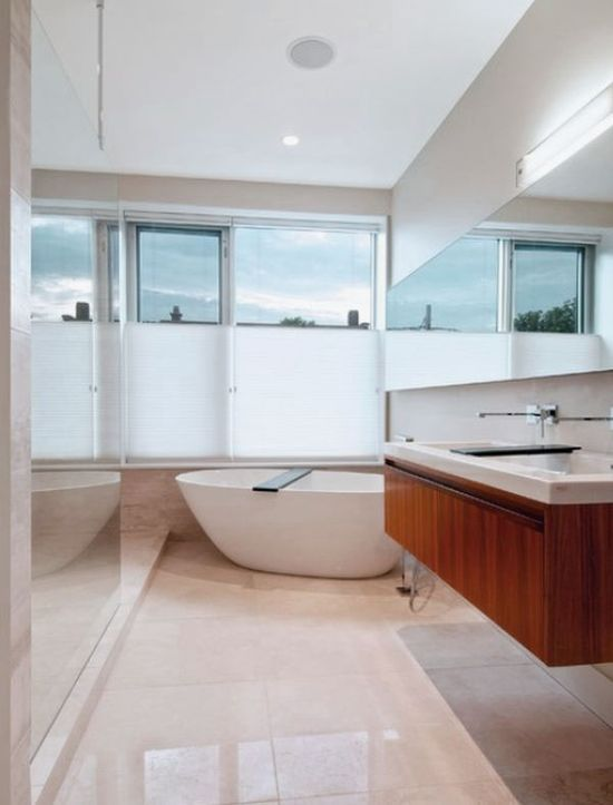 Contemporary Bathroom Design Ideas with Floating Washbasin and White Bathtub