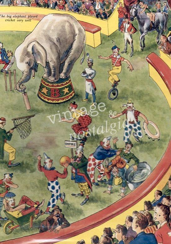 1940s CIRCUS illustration, Elephant vintage circus print circus party, kids bedroom decor