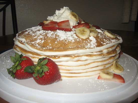 Topped with fresh fruit.