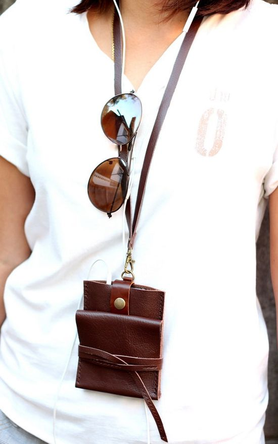 Smart brown leather iPhone wallet with neck strap. $37.00, via Etsy.