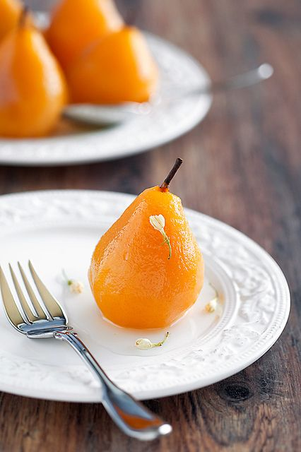 Splendidly elegant Jasmine Tea Poached Pears (I can imagine how marvelous these must smell as they're poaching).  #food #cooking #meals #baking #desserts #pears #fruit #tea #jasmine #jasminetea