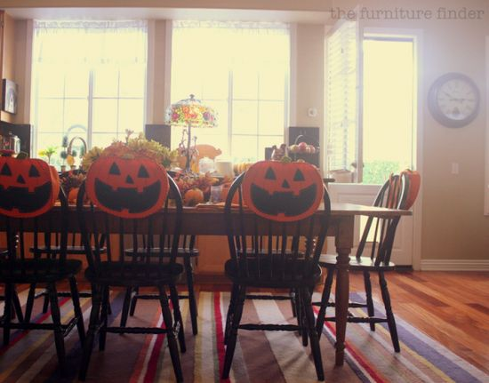 eat in kitchen decorated for Halloween.