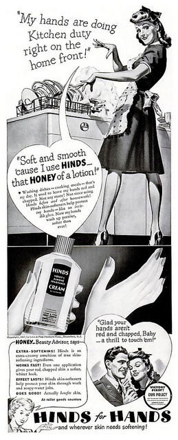 Her hands are doing kitchen duty right on the home front! 1940s ad