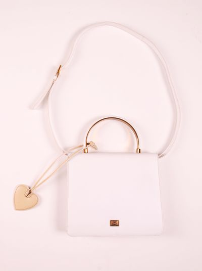 Moschino by Redwall White Leather Shoulder Bag