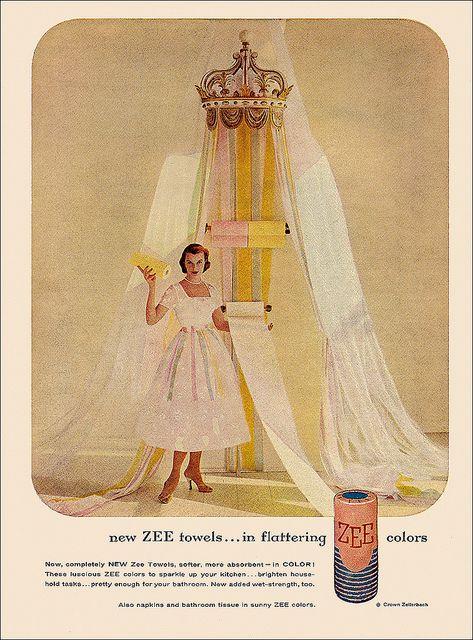 An elegant pastel hued Zee Paper Towel ad, from 1956. #vintage #1950s #homemaker #ads