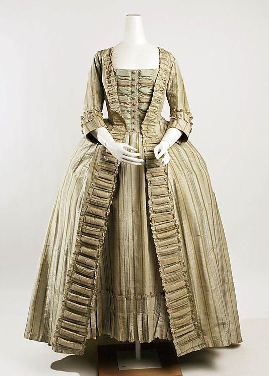 Dress (Robe à la Française), French, 1775-80, silk. Metropolitan Museum of Art.