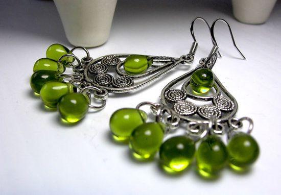Chandelier Earrings Boho Chandeliers Green Glass by LocaDesign, $22.00