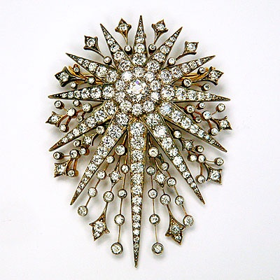 ANTIQUE DIAMOND STARBURST BROOCH 19th C