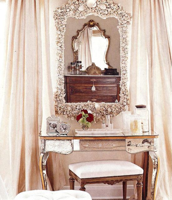 antique vanity and sea shell mirror
