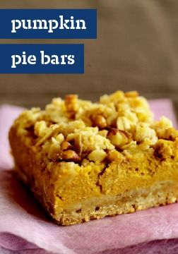 Pumpkin Pie Bars – Crunchy oat-nut crust, cream cheese in the filling and sweet crumbs combine to take pumpkin pie to a new and even more delicious level.