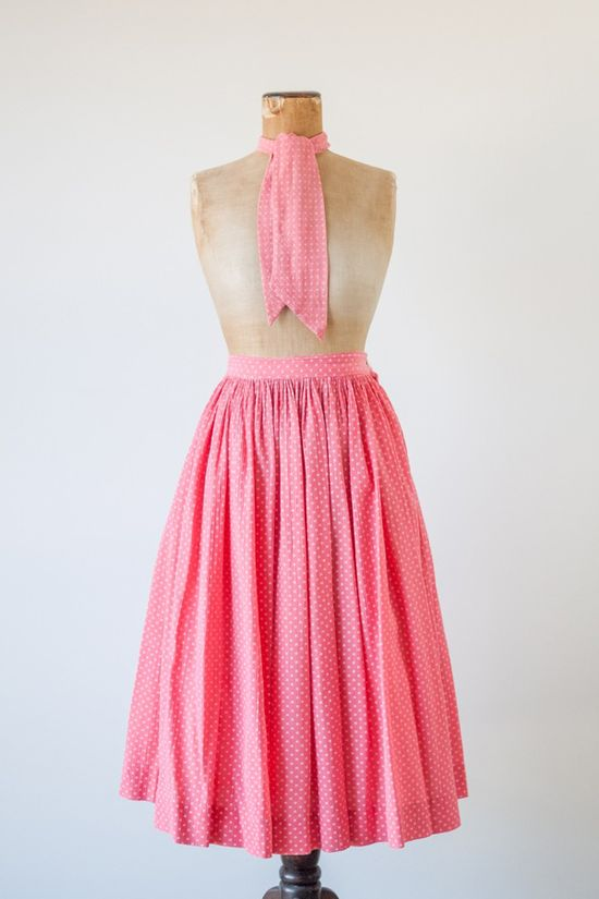 Vintage 1950s 'Cotton Candy' pink and white polka dots skirt and scarf by Morlove. #vintage #1950s #pink #fashion
