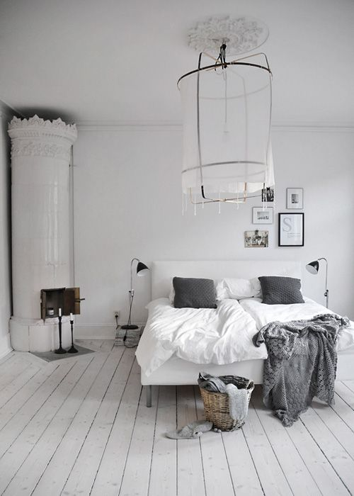 white fireplace + shades of grey