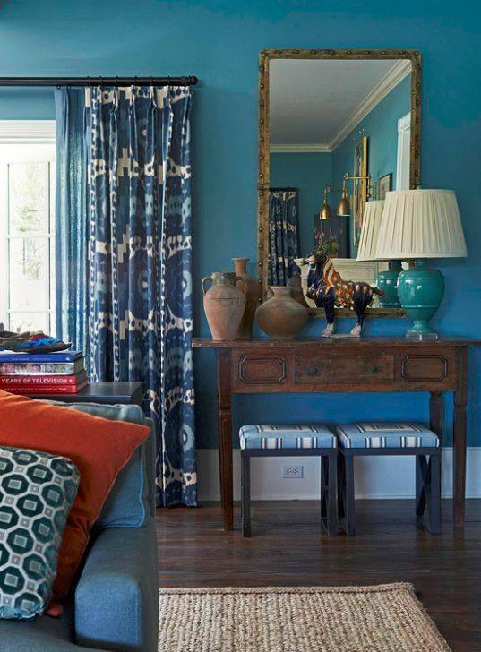 blue living room by Mary #decoracao de casas #hotel interior design #interior design and decoration
