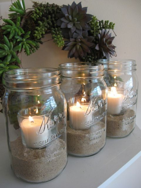 neat idea - mason jars and sand + small pillar candle