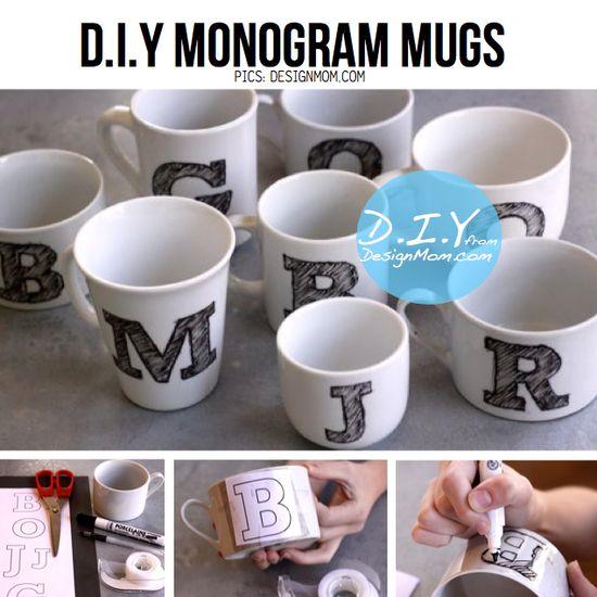 DIY Monogram Mugs