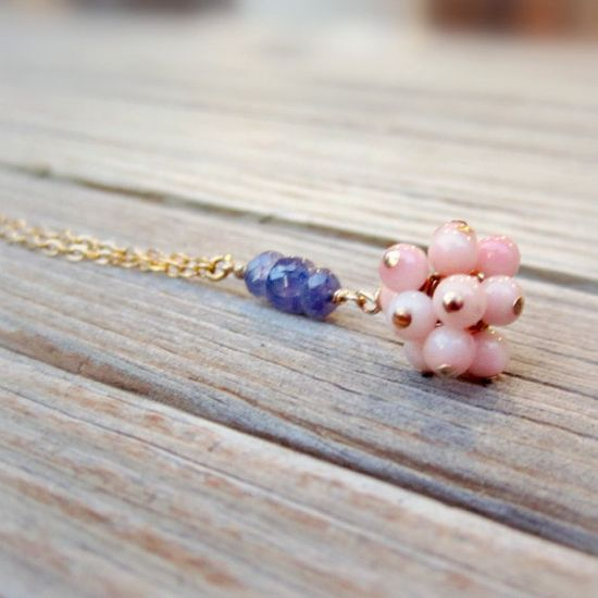 Pink and Purple Necklace Tanzanite and Coral by jewelrybycarmal, $35.00