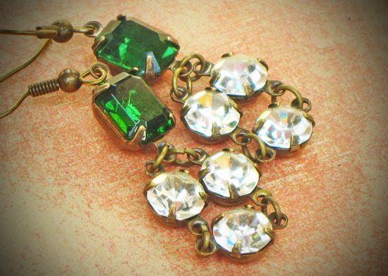 Emerald Green Rhinestone Earrings, Bride, Wedding, Green, Chandelier