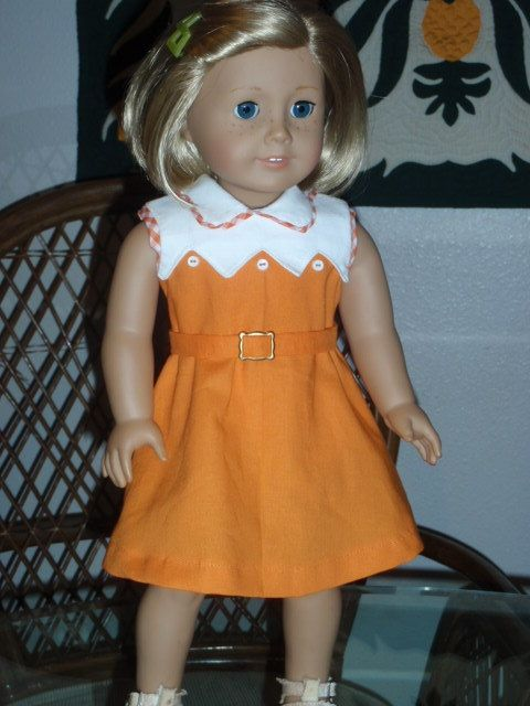 1930s Kit's Orange Dress Special Request by alohagirldollclothes, $25.00