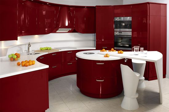 Antique contemporary kitchen in red and white Modern Kitchen Decoration Designs in Fresh Colors
