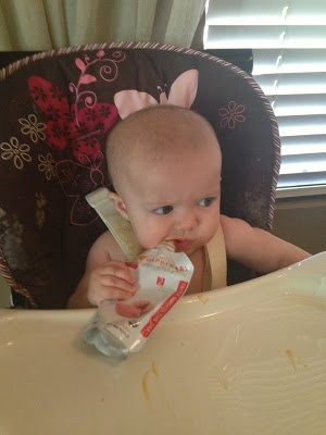 Funny Mommy Moments - blog - mommy blog - feeding your baby - feeding your seven month old - food pouches for baby - messy baby
