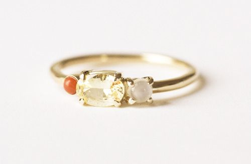 MOCIUN custom ring. Yellow sapphire, moon stone and coral set in 14k yellow gold