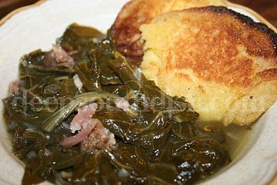 Southern Collard Greens with Ham Hocks and Hoecakes