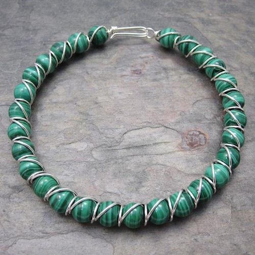 Malachite Beaded Sterling Silver Wire Bracelet