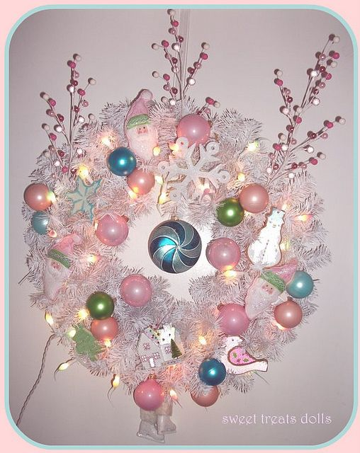 Shabby Pink Christmas Wreath  by Sweet Treats Dolls, via Flickr
