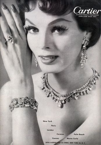 This ad positively gushes with sophisticated 1950s elegance. #vintage #1950s #fashion #jewelry #ad
