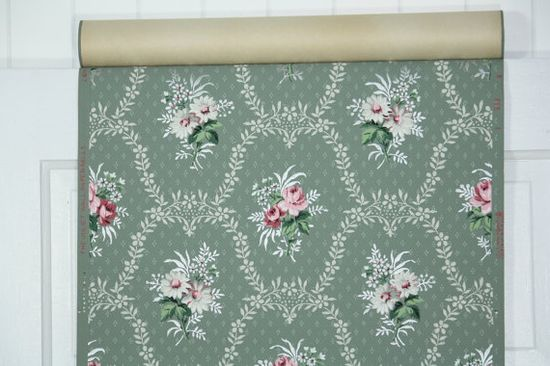 vintage wallpaper green and pink floral