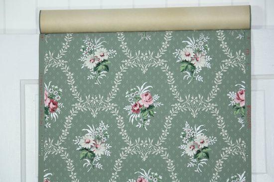 vintage wallpaper green and pink floral