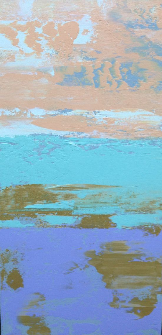 Pastel Abstract Painting 12x24 Peach Mint by JenniferFlanniganart