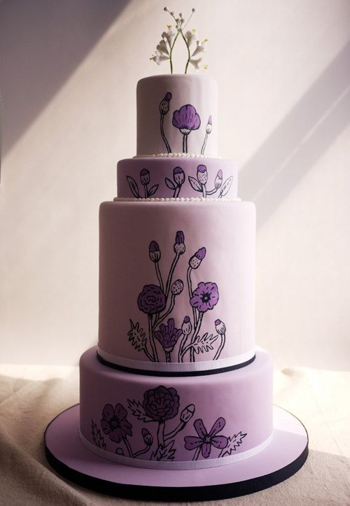 I love these cakes on @Design*Sponge. I especially like this purple one, and the one with the flowered patterns.