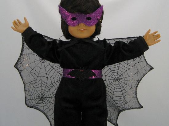 American Girl Doll sized Bat Girl Halloween Costume With Mask. $30.00, via Etsy.