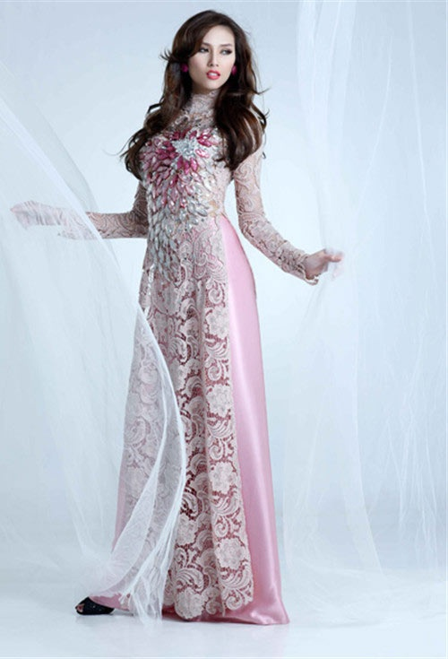 White lace ao dai with pink pants
