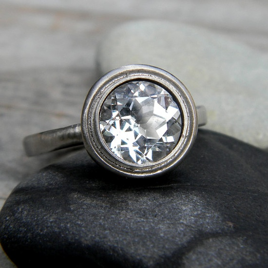 Moissanite and 14k Palladium White Gold Engagement Ring, Old Hollywood Inspired $2,248.00