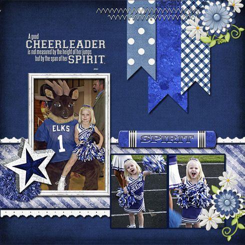 Cheerleader scrapbook page layout