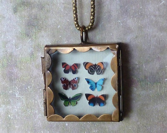 Butterfly Shadowbox Collection Scalloped Locket Necklace