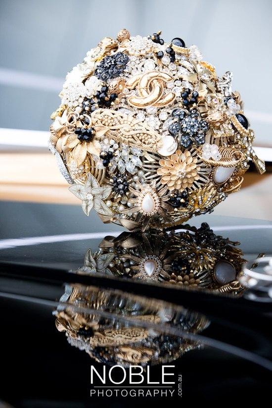 Gold and Black Wedding Bouquet of Brooches