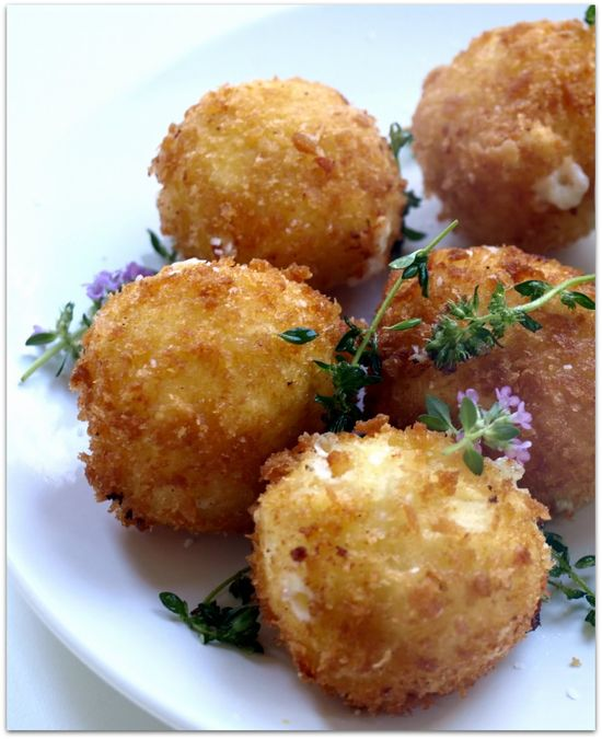 cheese fritters with balsamic sun-dried tomato dipping sauce
