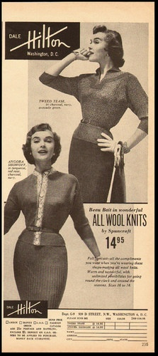 Dale Hilton All Wool Knits, 1955. #vintage #sweaters #1950s #fashion #ads