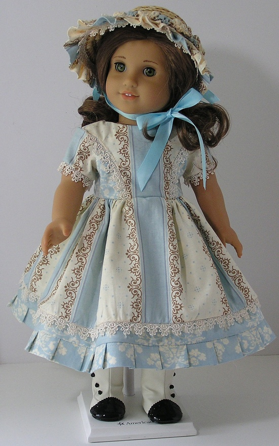 1800's Style Dress and Straw Bonnet for 18 Inch Doll. via Etsy.