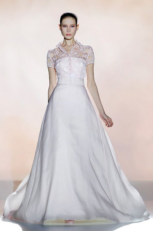 A pink #wedding dress with sleeves from Rosa Clara, Spring 2013