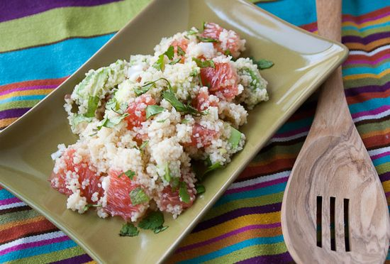 Refreshing avocado and grapefruit couscous salad